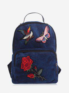Zipper Embroidery Denim Backpack - Deep Blue