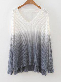 Side Slit Ombre High Low Knitwear - Gray S