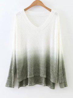 Side Slit Ombre High Low Knitwear - Blackish Green M