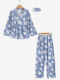 Loungewear Mushroom Print Wrap Top With Pants - Stone Blue M