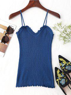 Ruffled Hem Knitting Cami Top - Blue