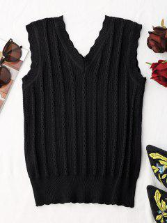 V Neck Knitted Tank Top - Black