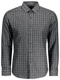 Casual Camisa De Manga Larga De Tela Escocesa - Gris 2xl