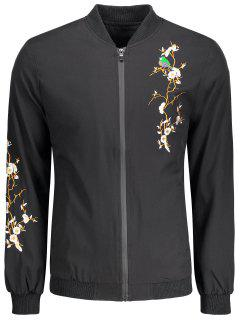 Zipper Embroidery Bomber Jacket - Black Xl