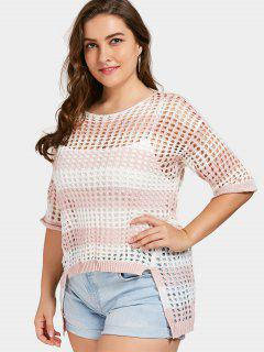 Cutout Slit Plus Size Sweater - Light Pink