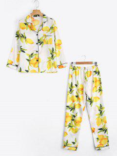 Satin Lemon Print Shirt With Pants Loungewear Suit - White M