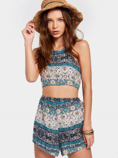 Halter Tribal Print Top With Shorts Set - Multi Xl