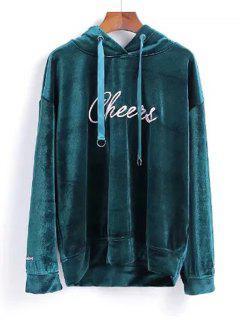 Velvet Letter Embroidered Hoodie - Blackish Green S