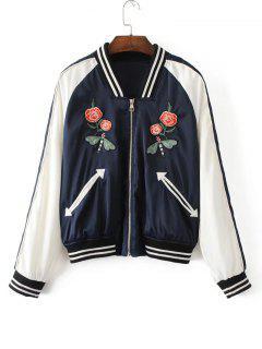 Embroidered Stipes Panel Baseball Jacket - White S