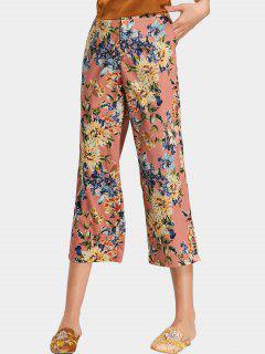 Pantalon Jambes Évasées Floral Taille Haute  - Floral L