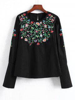 Zippered Floral Embroidered Blouse - Black L