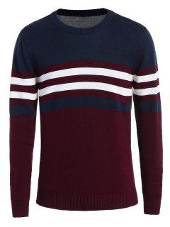 Crew Neck Striped Sweater - Wine Red Xl
