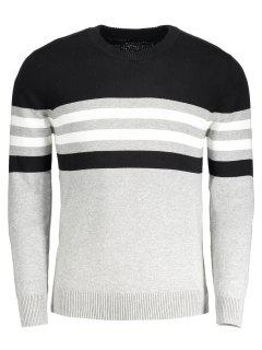 Crew Neck Striped Sweater - Gray Xl