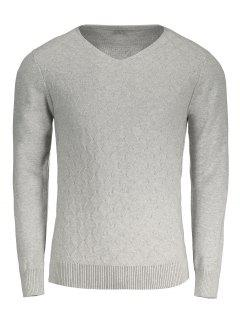 Rhombus V Neck Sweater - Gray 3xl