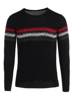 Mens Crew Neck Graphic Sweater - Black 2xl