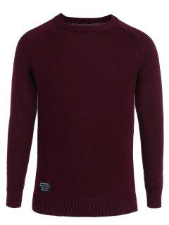 Cotton Applique Crew Neck Sweater - Wine Red Xl