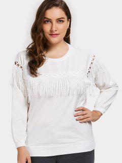 Plus Size Fringe Sweatshirt - White 4xl
