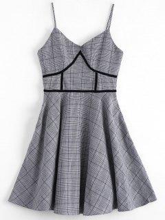 Houndstooth Slip Dress - Plaid M