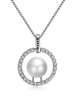 Faux Pearl Rhinestone Circle Charm Necklace - Silver