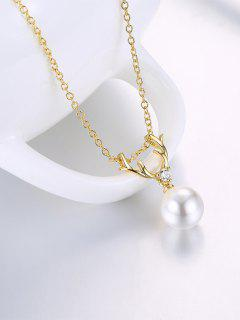 Collier Faux Pearl Elk Charm - Or