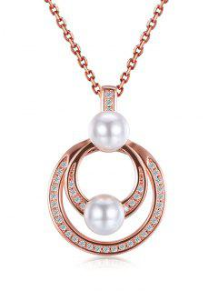 Faux Pearl Double Circle Pendant Necklace - Rose Gold