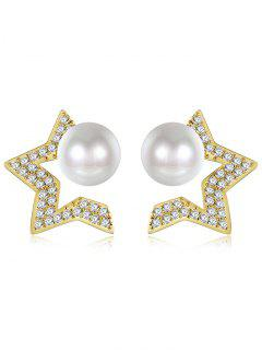 Faux Pearl Star Tiny Stud Earrings - Golden