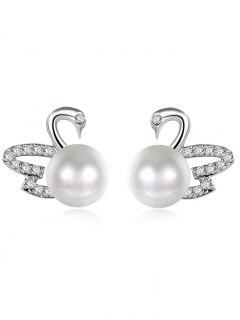 Faux Pearl Rhinestoned Swan Stud Earrings - Silver