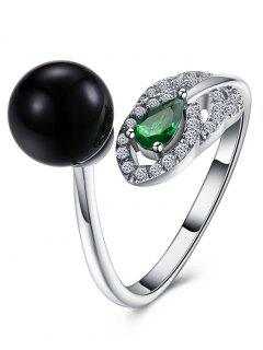 Rhinestone Faux Emerald Ball Cuff Ring - Silver