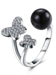 Rhinestoned Butterfly Ball Cuff Ring - Black