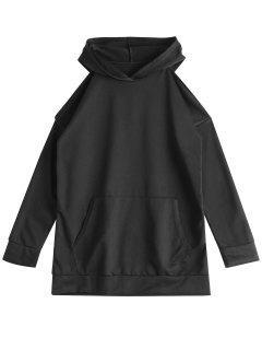 Front Pocket Cold Shoulder Hoodie - Black Xl