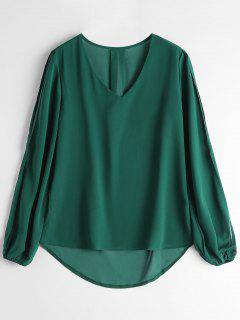 V Neck Split Sleeve High Low Blouse - Green Xl