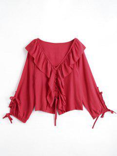 Cuello De Cuello En V Abrochan La Blusa - Rojo