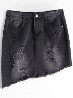 Ripped High Waist Asymmetric Denim Skirt - Black L