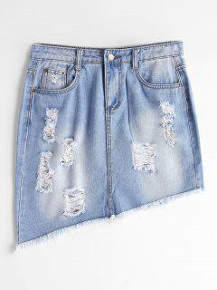 Ripped High Waist Asymmetric Denim Skirt - Light Blue L