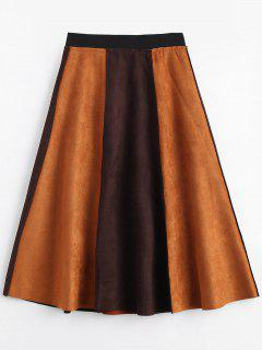 Suede Color Block Swing Skirt - Brown L