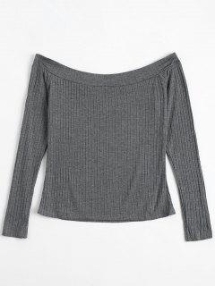 Off The Shoulder Ribbed Top - Gray L