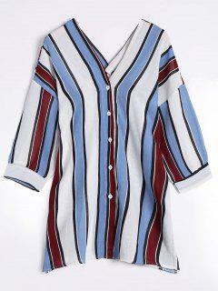 V Neck Drop Shoulder Striped Blouse - Blue