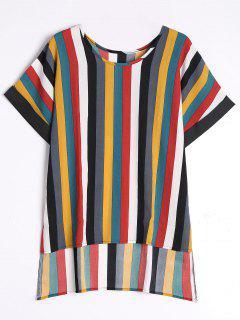 Striped High Low Chiffon Top - Stripe L