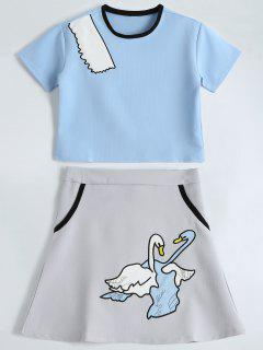 Embroidered Top And Cute Patched Mini Skirt - Light Blue Xl