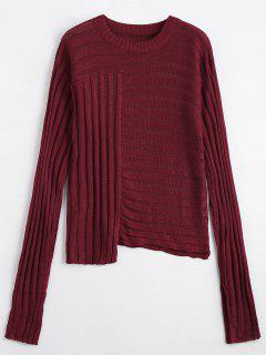 Asymmetric Ribbed Sweater - Wine Red