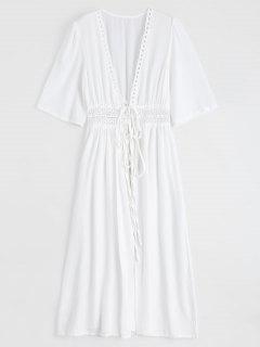 Crochet Trimmed Chiffon Duster Cardigan - White S