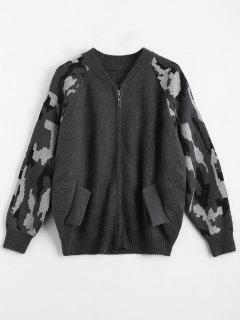 Back Pocket Zip Up Graphic Cardigan - Deep Gray