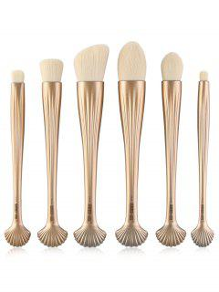 6Pcs Multipurpose Plating Shell Facial Makeup Brushes - Venetian Gold