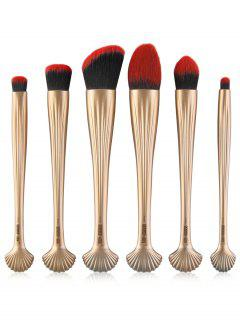6Pcs Multipurpose Plating Shell Facial Makeup Brushes - Gold And Red