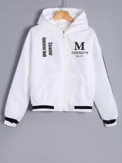 Zip Up Graphic Print Hooded Jacket - White S