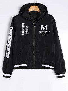 Zip Up Graphic Print Hooded Jacket - Black S