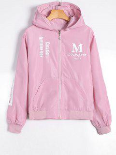 Zip Up Graphic Print Hooded Jacket - Light Pink M