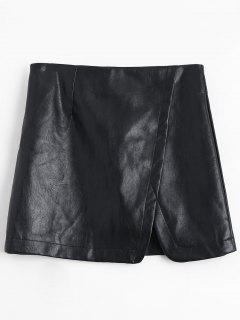 PU Leather A-line Skirt - Black S