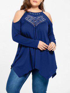 Plus Size Openwork Cold Shoulder T-shirt - Blue Xl
