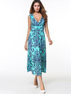 Printed Long Plunge V Neck  Tank Dress - Lake Blue M